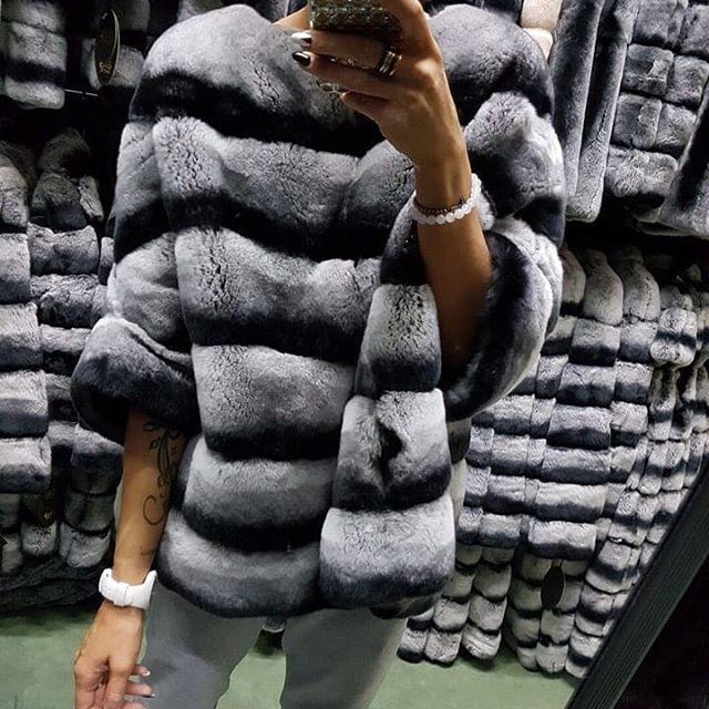 Real Rex Rabbit Fur Coat Poncho giacca striscia con maniche pipistrello mezza manica inverno caldo peloso abiti rosa pullover cime