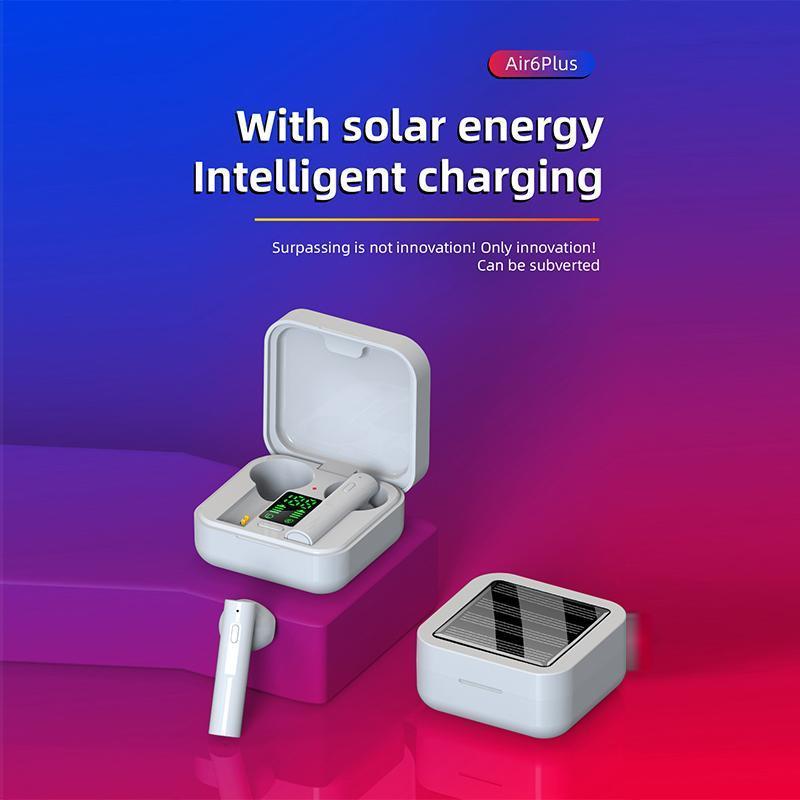 Air6 Artı Kablosuz Bluetooth Güneş Şarj Kulaklık TWS5.0 İki-in-Kulak Stereo Gürültü Iptal Bluetooth Airpods LED Ekran Gücü