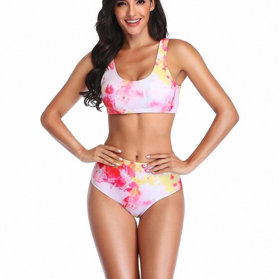 Sexy Tie Dye Bikini High Wiast Swimsuit Women's Swimwear 2021 High Cut Bikini Set Swimming Wear for Bathing Suit Woman Swimsuits #Os4u