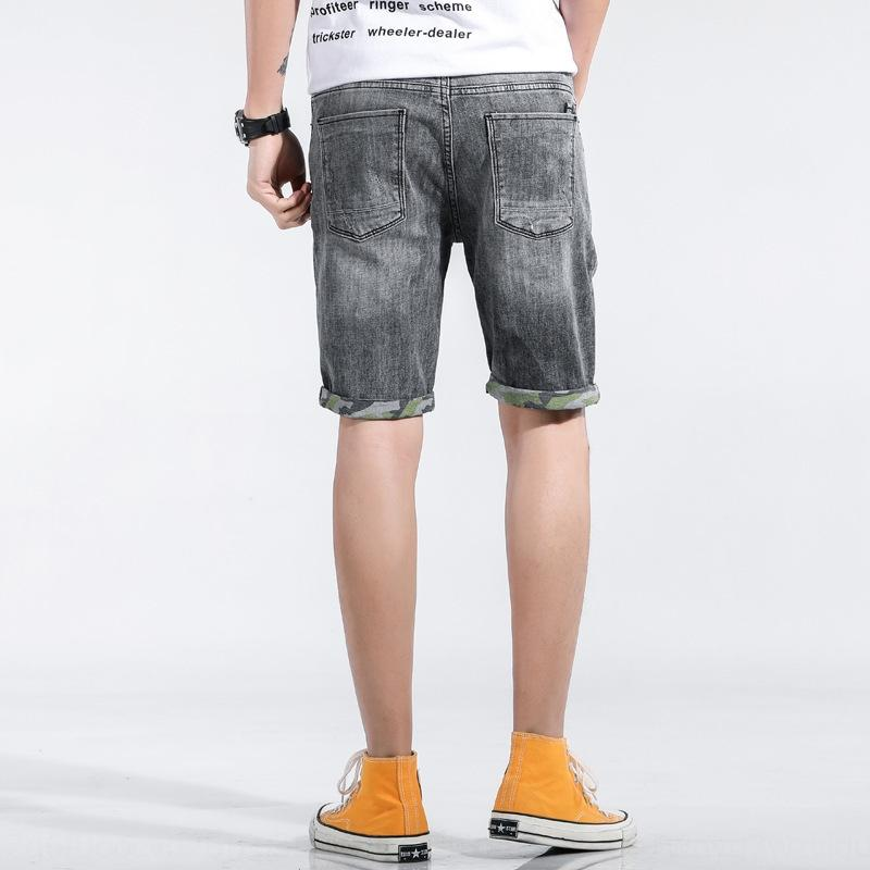 812DU Summer new men's Capris trendy jeans jeans and jeansPants and for straight slim elastic ripped pants jeanscasual h10VS men