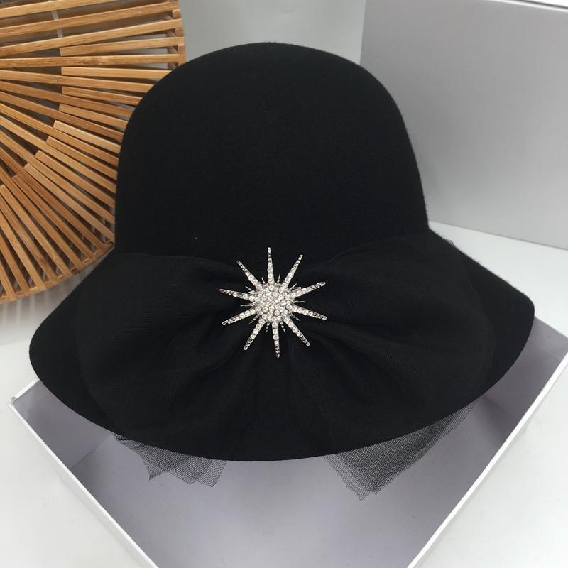 avec de la laine de paragraphe bowknot bouchon han bassin édition jour chapeau de pêcheur en strass ligne aristocratique élégant chapeau noir