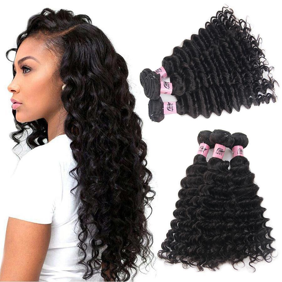 Namibeauty Brasileño Virginal Peluquería profunda onda 3 paquetes sin procesar 100% extensiones de cabello humano Color natural