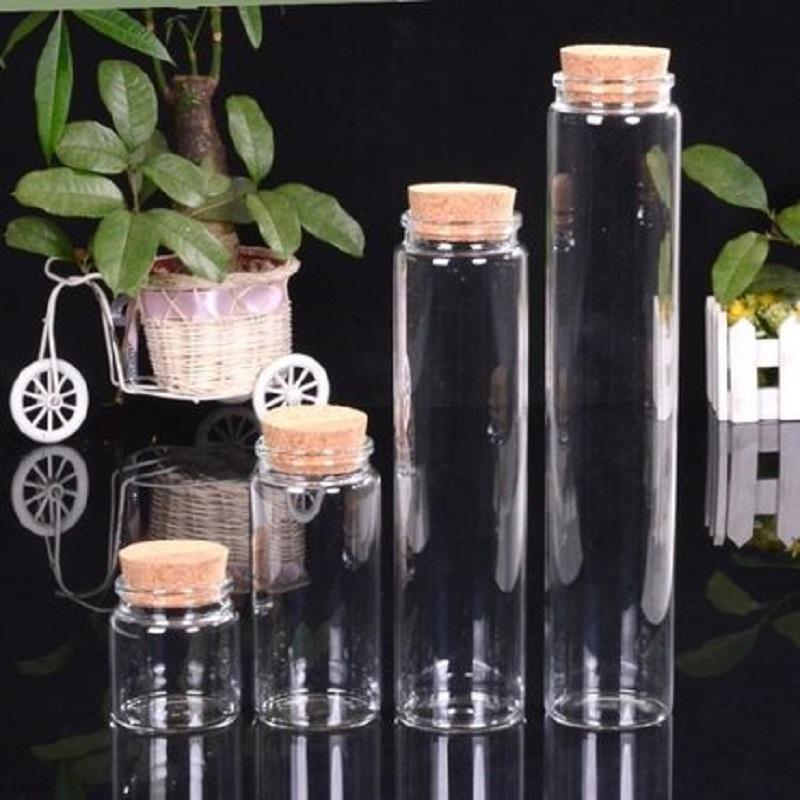 Botellas de almacenamiento Frascos de 57 mm Diámetro Botella de vidrio Tapón de corcho Vial Cylindrical Deseando DIY DRIFT 90ml 230ml 465ml 580ml