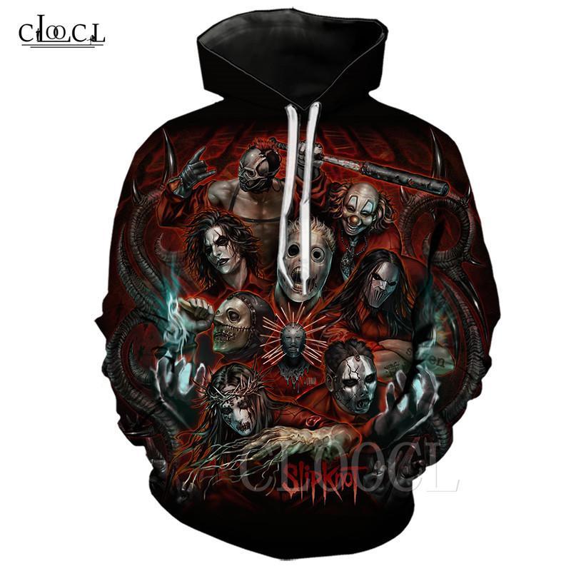Охладить хэви-метал группы Slipknot Толстовка Мужчины Женщины Hoody Hip Hop Streetwear Anime Рубашка 3D напечатанных Hoodies Мужские пуловеры Harajuku