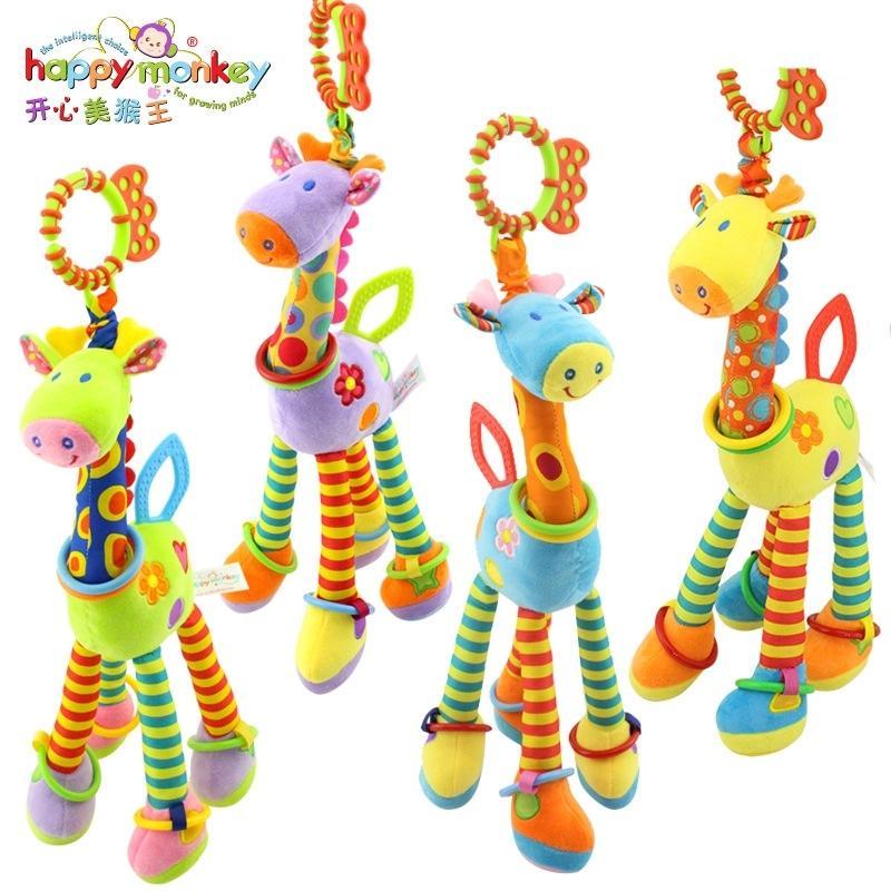 Peluche Baby Development Baby Development Soft Girafe Animal Handbells Handles Poignée Jouets Chaude Vente chaude Tetaher bébé jouet Jouet éducatif 201221