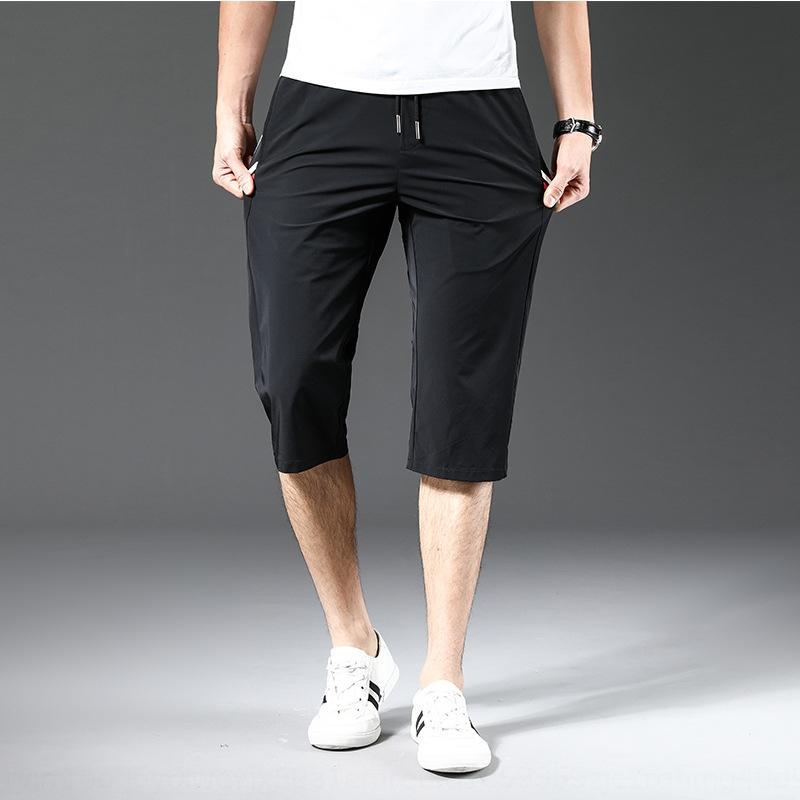 Sommer-Hose der neuen Männer beiläufige beiläufige Hosen Eisseide atmungs elastischen geraden Rohr Hosen der Männer Brief gedruckt elastischen Sport Capris Lum