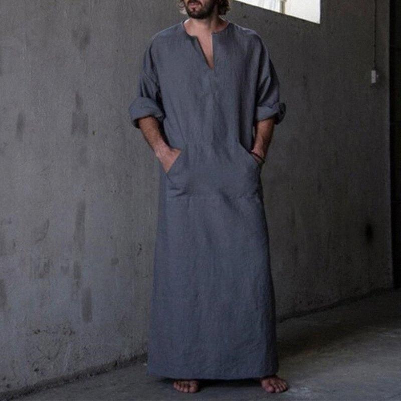 2020 camice dei nuovi uomini di abito a manica lunga 100% cotone con scollo a V Figura intera arabo islamico caftano Ropa Hombre musulmana Eid Costume Robe Y200408 k2eC #