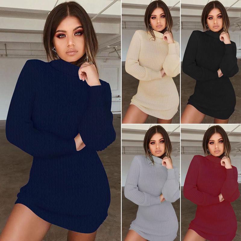 ZITY Kadınlar Günlük Kış Sonbahar Elbise Lady Uzun Kollu Crewneck Jumper İnce Casual Örme Triko Mini Elbise
