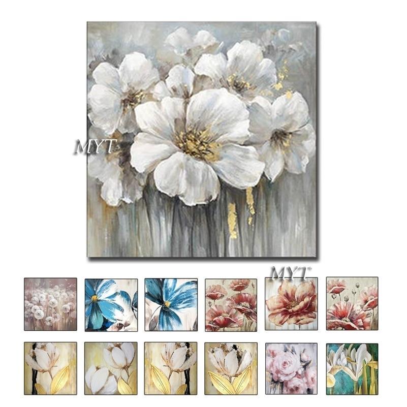 MyT Livraison GRATUITE Vente chaude Accueil Décor Mur Art Photos 1 Pièces Fleur Blanc Art Fleur Art Peintures à l'huile InframeMed LJ201130