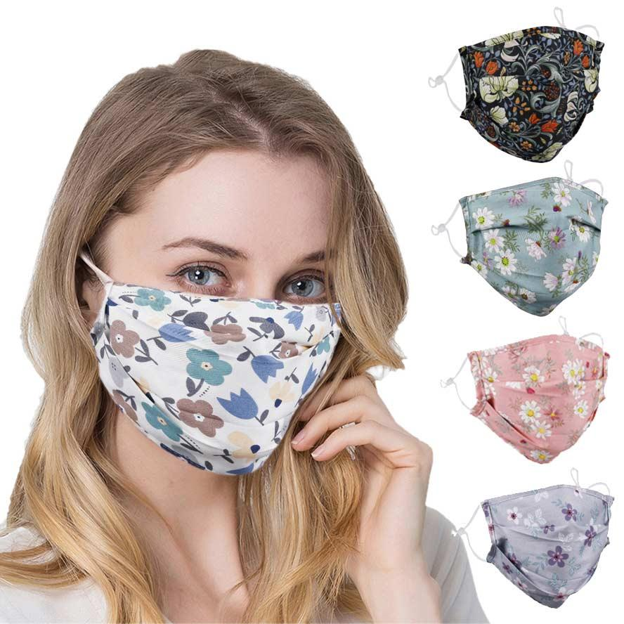 face mask designer face mask grey bottom flower print mask protective adult male and female masks can be inserted filter