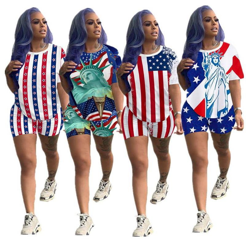 Женщины Шорты Коллекционные Коллегии Америка Флаг Печать Летние Два Части Набор с коротким рукавом футболка + Шорты наряда Мода Спортивная одежда Костюм Высокое качество