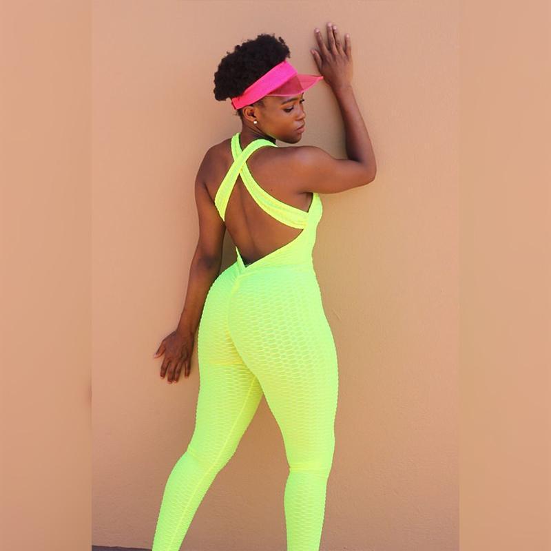 Trajes de yoga Sexy Jacquard amarillo Criss Cross Cross One Piece Set Bra Leggings Alto Cintura Fitness Pantalones deportivos Gimnasio Entrenamiento Biker Ropa