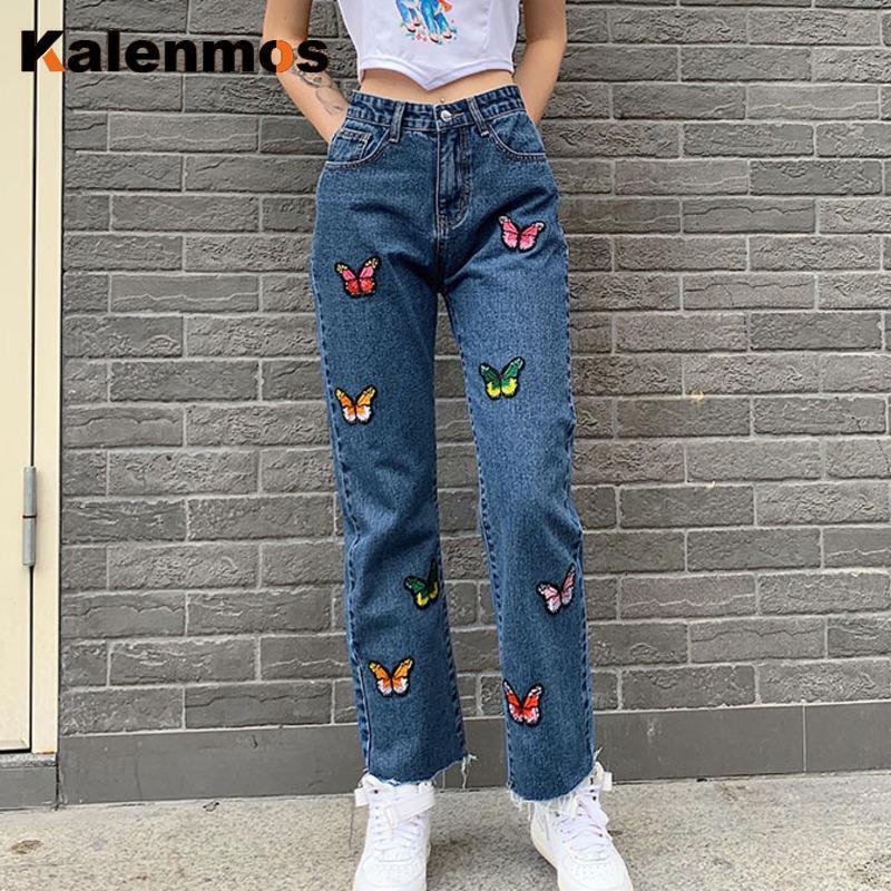 Джинсы Женщина KALENMOS Длинные брюки ковбой Высокая талия Сыпучие Streetwear бабочки Вышитые Straight Шикарные Брюки Плюс Размер