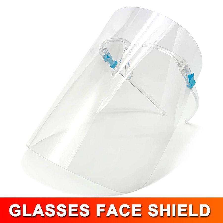 Sécurité Visière transparent clair ECO PET transparent avec verre Cadre en plastique réutilisable de protection anti-éclaboussures et un masque Fog Shield