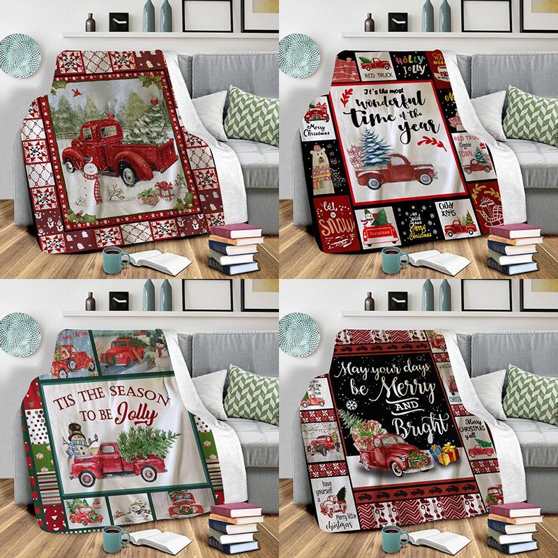 عيد الميلاد البطانيات الفانيلا النسيج الشتاء الدافئة غطاء غطاء عيد الميلاد شاحنة غطاء عيد الميلاد هدايا عيد الميلاد زينة XD24152