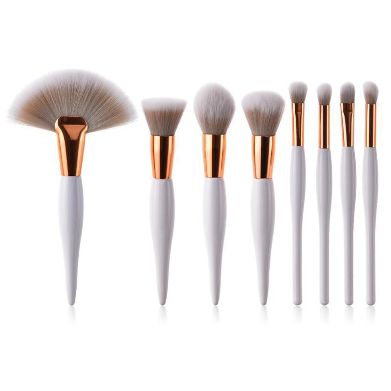 8pcs Macio compo escovas conjunto de alta qualidade Powder Brush Kabuki Grande Makeup Fan Lip Eyeshadow Ferramentas pincel branco beleza para as mulheres