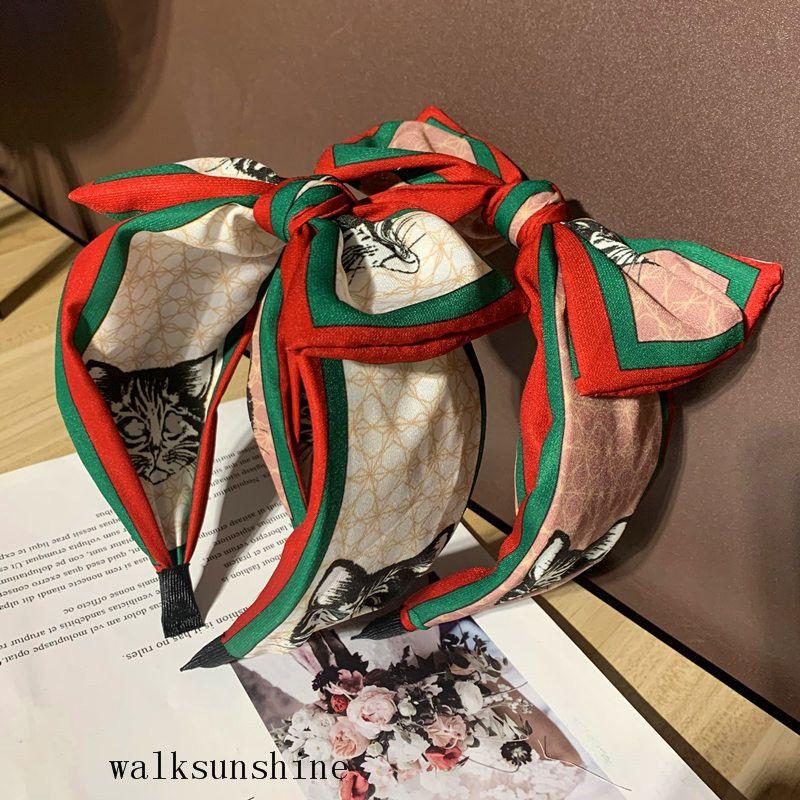 Classic Coreano Estilo Cabelo Cabelo Feminino Versátil Fashion Fashion Stripe Bow borda larga borda elegante gatos imprimir tiara