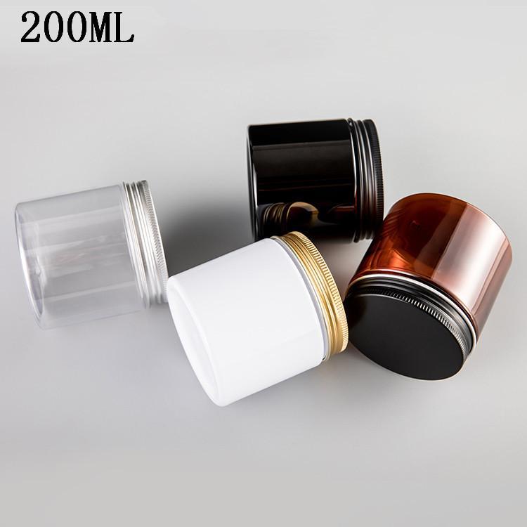 Pot en plastique cosmétique POMMADIER plastique Pot aluminium Couvercle Cap PET Container Les 25pcs emballage vide / lot 200G 200ml