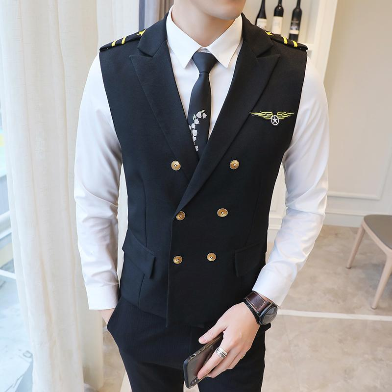 New Dress Vests For Men Epaulet Air Less Vest Double Breasted Work Uniform Waistcoat Suits Casual Slim Fit Gilet Homme 5XL 201014