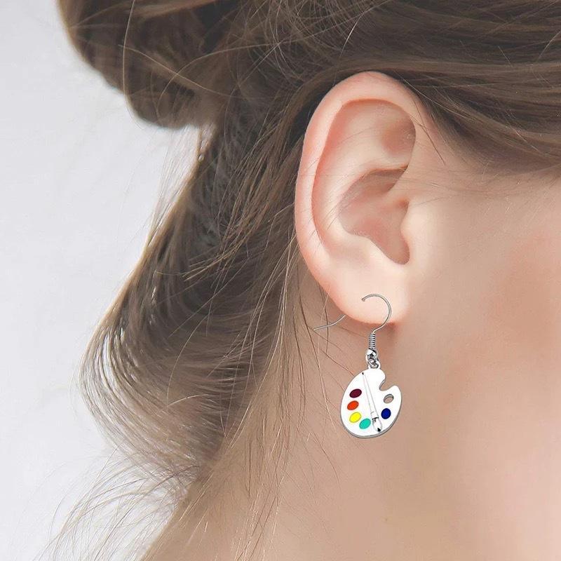 Pigment Board Earrings Paint Brush Fine Arts Colour Charm Eardrop Silver Plated Alloy Women Ear Studs 3 5fs L2
