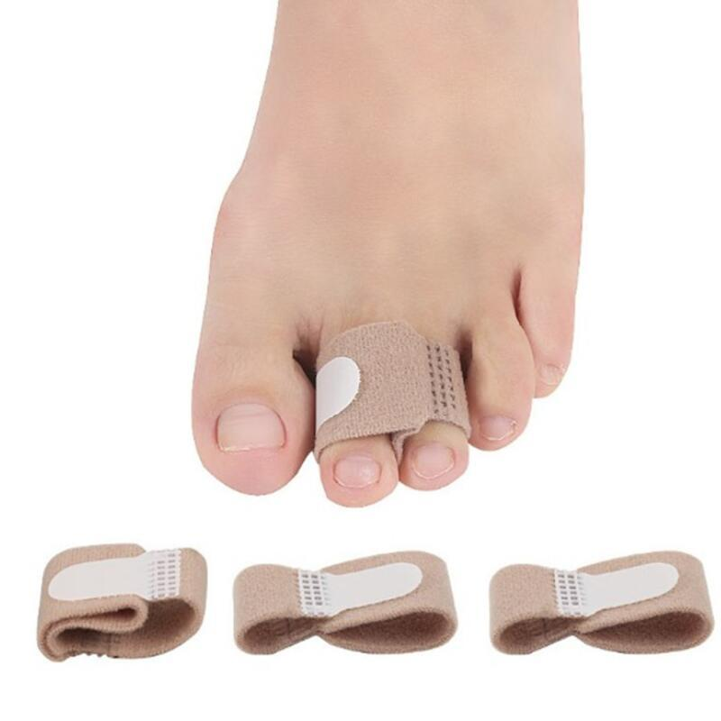 O dedo do pé de tecido suporta alisador Hammer Toe Hallux Valgus Corretor Bandage Toe Separator Splint Wraps LX3427