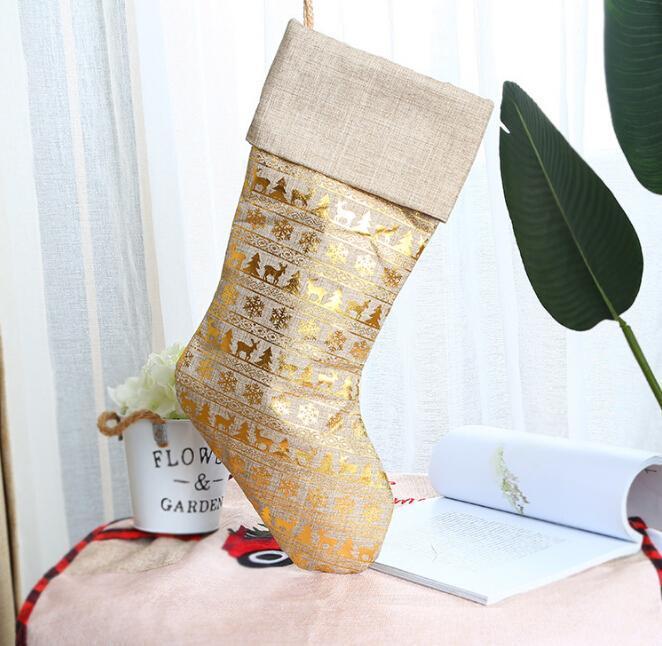 Рождественские чулки Творческих Золотой Бронзировать мешок подарков Больших конфет носки Рождество кулон украшение