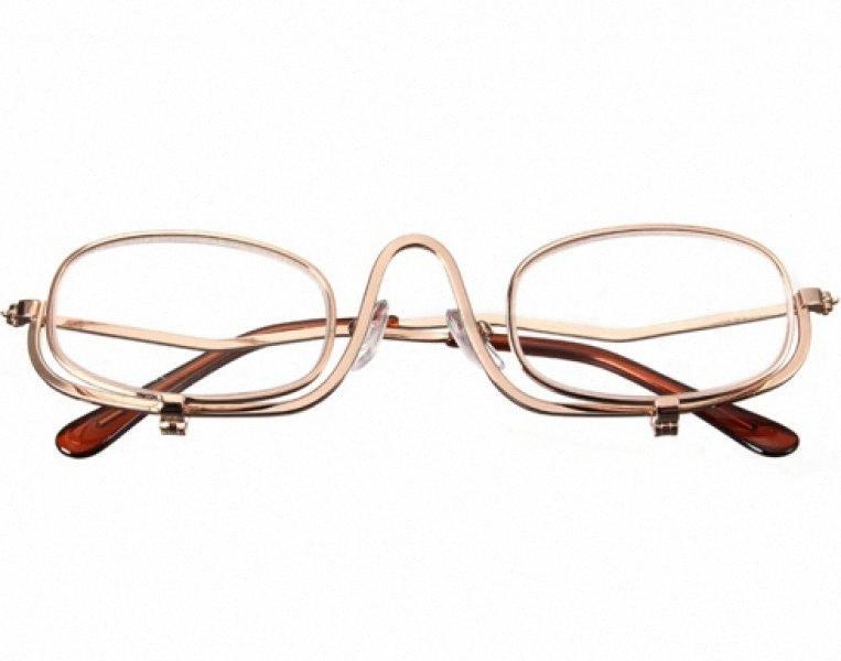 Ampliación buena calidad Maquillaje de ojos Fold Gafas Gafas de ojo cosmética gafas de lectura con la bolsa, tapa de lente tirón SfB1 #
