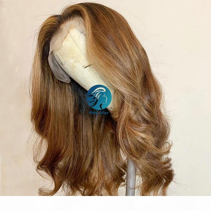 Evidenziare 13x6 Wave del corpo merletto dei capelli umani parrucche Blonde di miele parrucche pizzo frontale lungo brasiliano Remy Ombre marrone scuro Parte parrucca anteriore del merletto