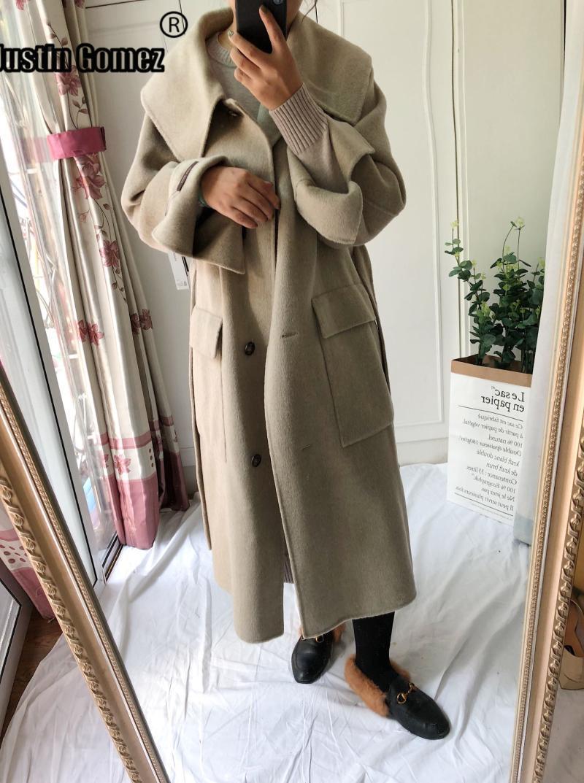 المرأة الصوف يمزج وصول ترسترودية طوق الكشمير معطف الإناث واحدة الصدر الدافئة الشتاء امرأة عارضة الخريف قميص معطف