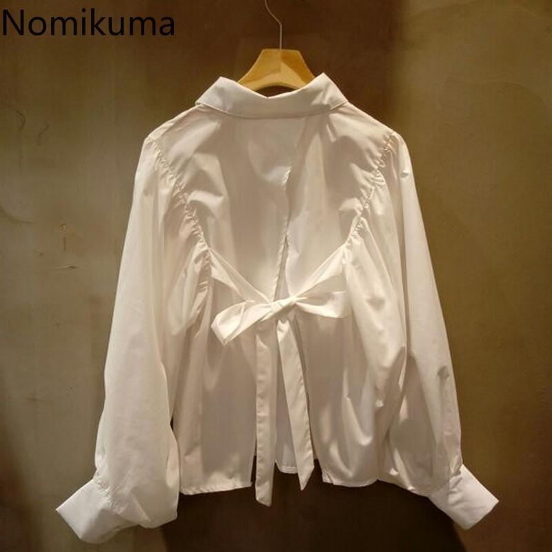 Женские блузки Рубашки Nomikuma Bow-yout Split Blouse Женщины Осень Осень Корейский Сплошной Одиночный Обморобь С Длинным Рукавом Blusa Мода Вскользь Леди Топы