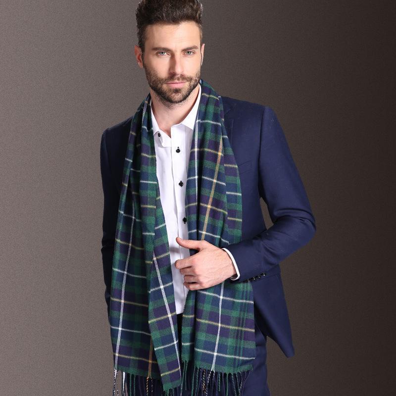 Шарфывики извините 2021 Европа мода шаль мужчины зима теплый тартанский шарф бизнес sjaal плед хлопчатобумажные обертывания bufanda follard