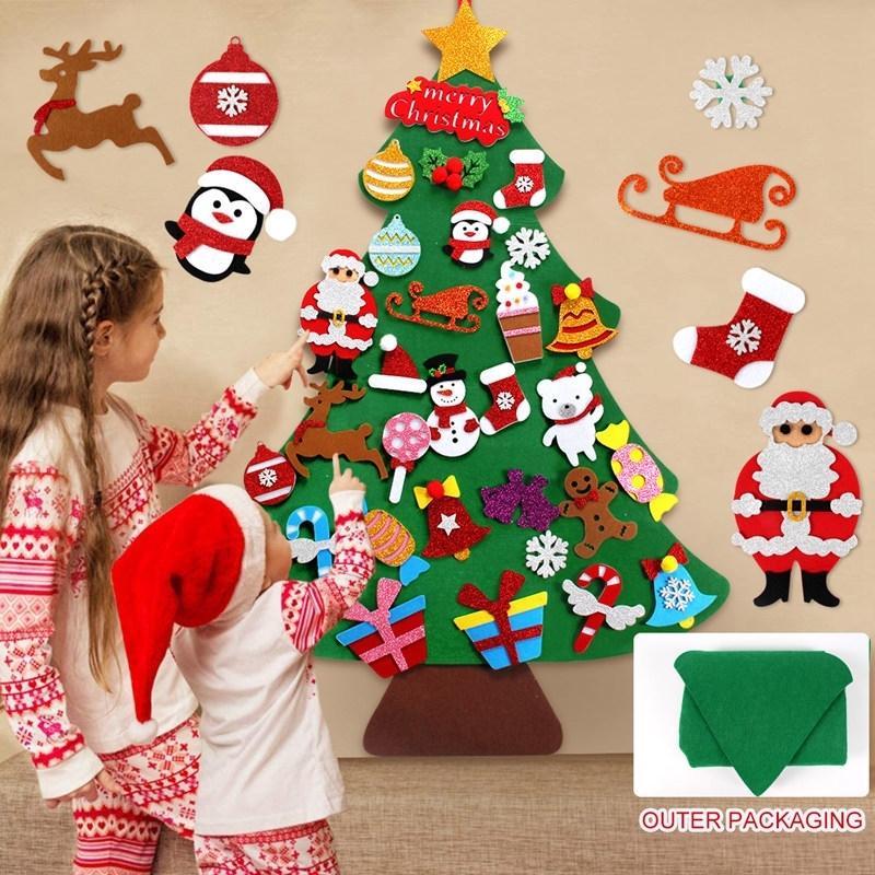 Qifu fühlte Weihnachtsbaum Weihnachtsmann Merry Weihnachten Dekor für Zuhause Navidad Natal Kesrt Baum Cristmas Frohes Neues Jahr 2021 201006