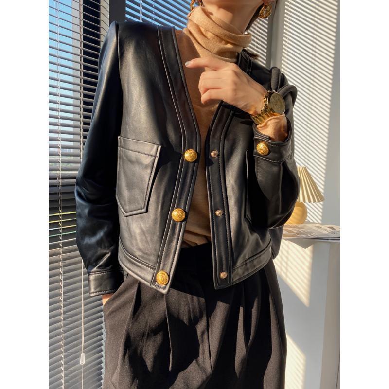 Mujer roupas otoño / invierno femenino cuero genuino cuello con cuello en v negro hebilla de oro bolsillo casual abrigo corto camello / chaqueta negra chaqueta