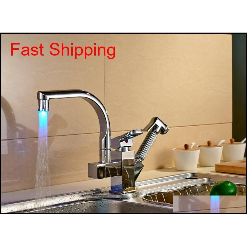 Colore LED Cambiare Chrome Kitchen Faucet Tirare fuori becco Mixer Qylspl BDE_luck