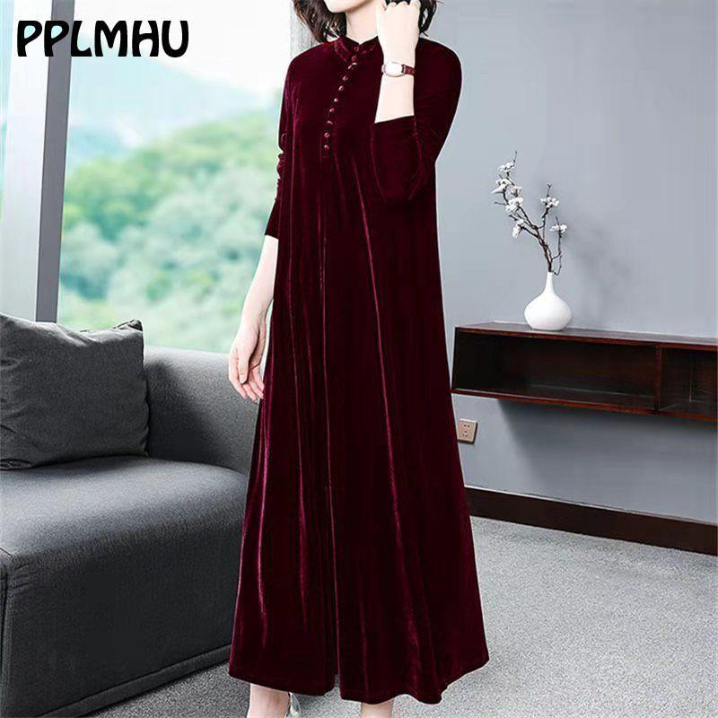Plus Size 5XL 6XL velluto vestito delle donne 2020 Nuovo casuale della mamma allentato Maxi veste rossa a maniche lunghe solido Winter Party Colore Vestidos