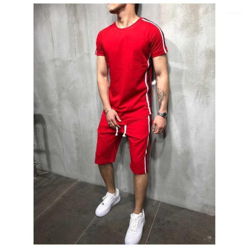 Мужские трексуиты трексуита Мужчины M-3XL летние мужские наборы футболки + шорты две части повседневные мужские O-шеи сплошной Sportswear1