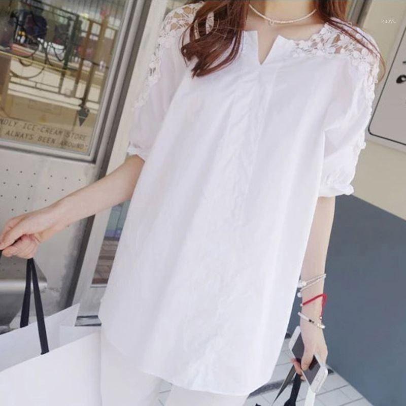 Ocqbi koreanische lose latern sleeve frauen spitze hemd v-neck spleißte backless büro tops und blusen stickerei roupa feminina1