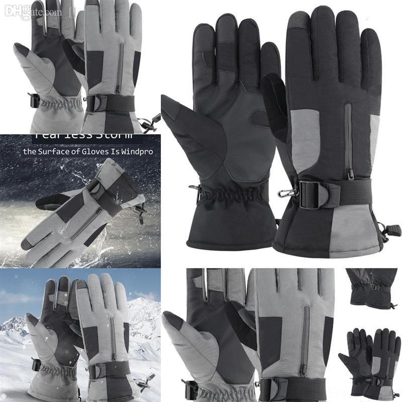 X4RB7 Guantes al aire libre Invierno Guante de esquí Man Ski Velvet Lace Fashion Cálido Teléfono para el invierno usando el ciclismo de esquí