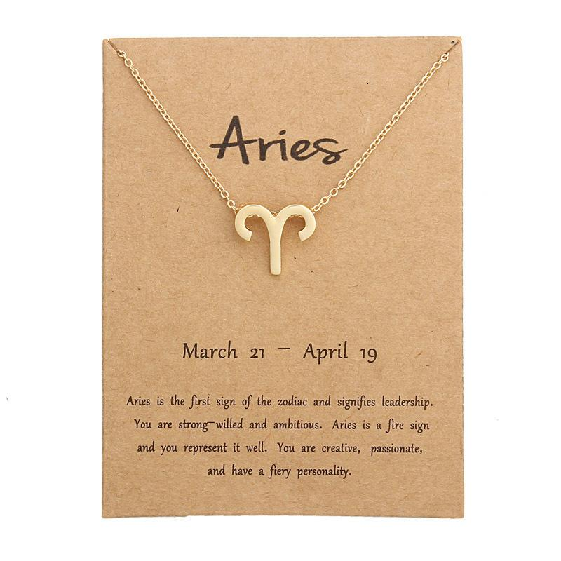 FactoryMXikConstellation zodiaque collier pendentif anniversaire 12pcs collier signe cadeaux carte de message pour femme fille 200928