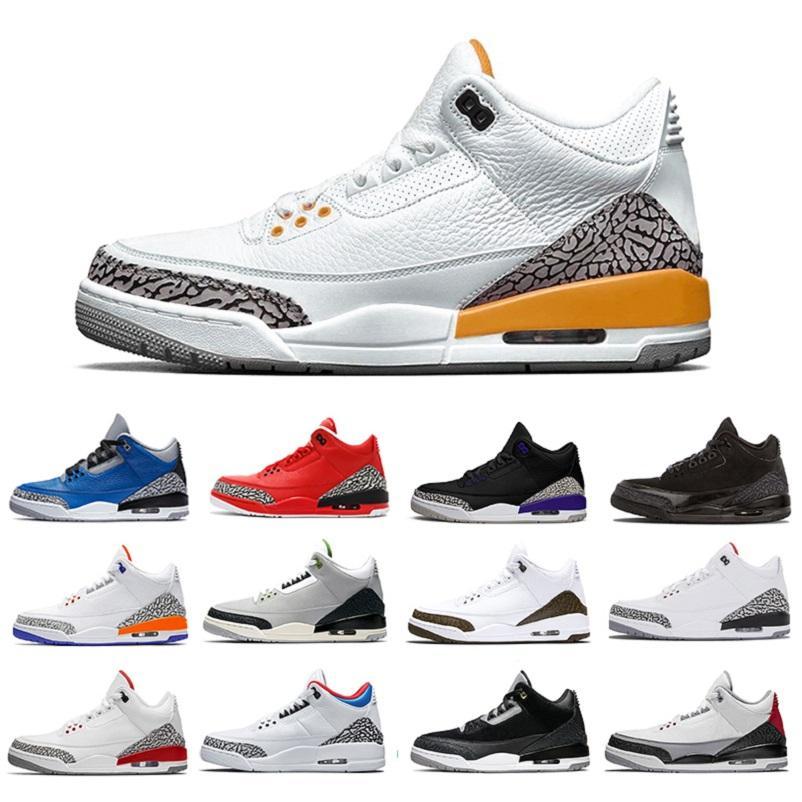 Láser de alta calidad Orang 3 zapatos de baloncesto para hombre Cemento blanco Chlorophy Fire rojo infrarrojo Katrina Mocha 3S Hombres entrenadores Deportes Sneakers40-47
