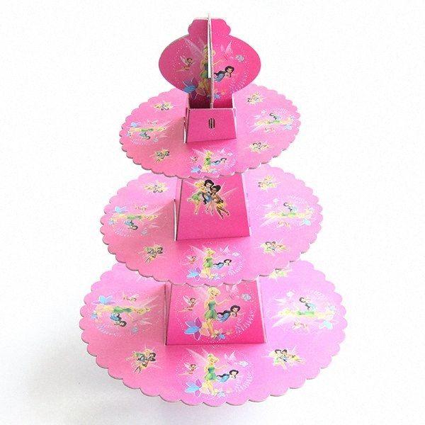 1set 3 katmanlı Uçan Elf Peri Kek Standı Bebek Partisi Çocuk Doğum Cupcake Tutma Çocuk doğum günü partisi Aralık tGUC # Malzemeleri