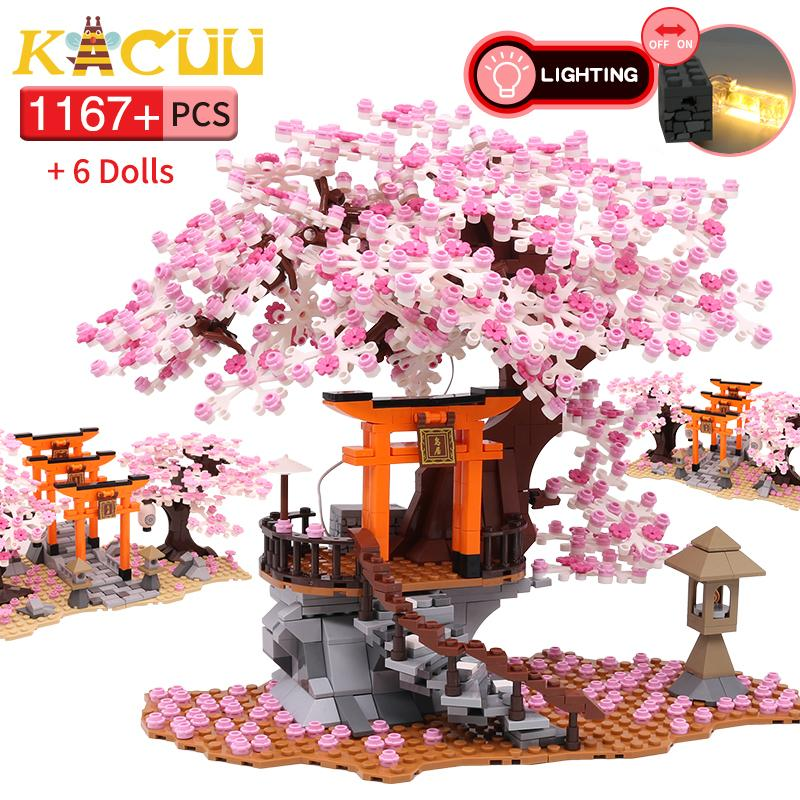 1167 + Pz City Street View Idea Sakura Inari Shrine Brick Friends Cherry Blossom Technic Creator House Tree Building Blocks Toys C0119