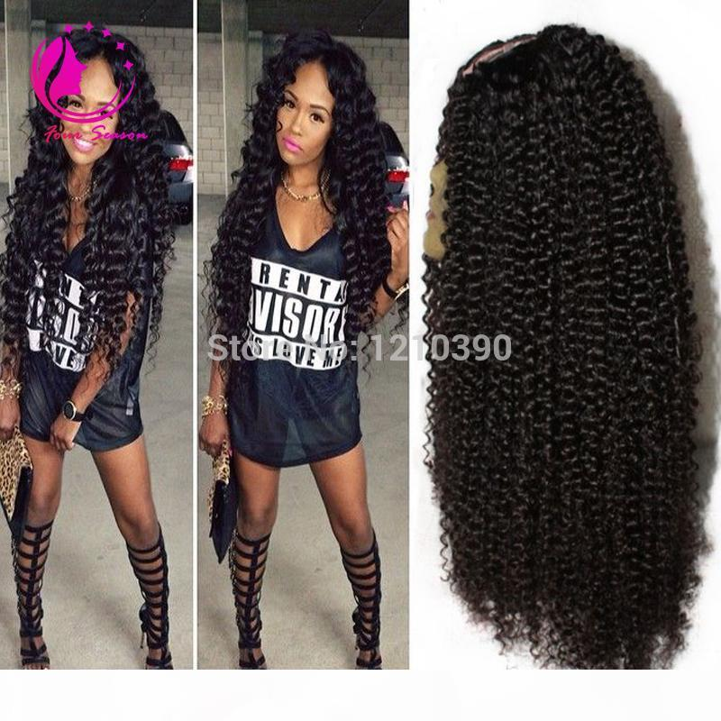 Virgin brasileño rizado U parte pelucas Kinky rizado Virgin U parte Pelucas de cabello humano Sin glünizas Peluca para mujeres negras con pelo de bebé