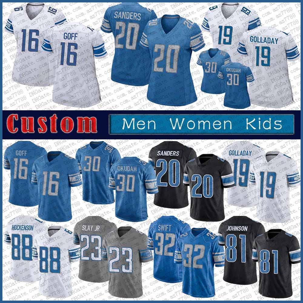 16 Jared Goff 30 Jeff Okudah 32 D 'Andre Swift Custom Men 여성 어린이 축구 유니폼 19 Kenny Golladay 88 T.J. Hockenson 33 Kerryon Johnson.