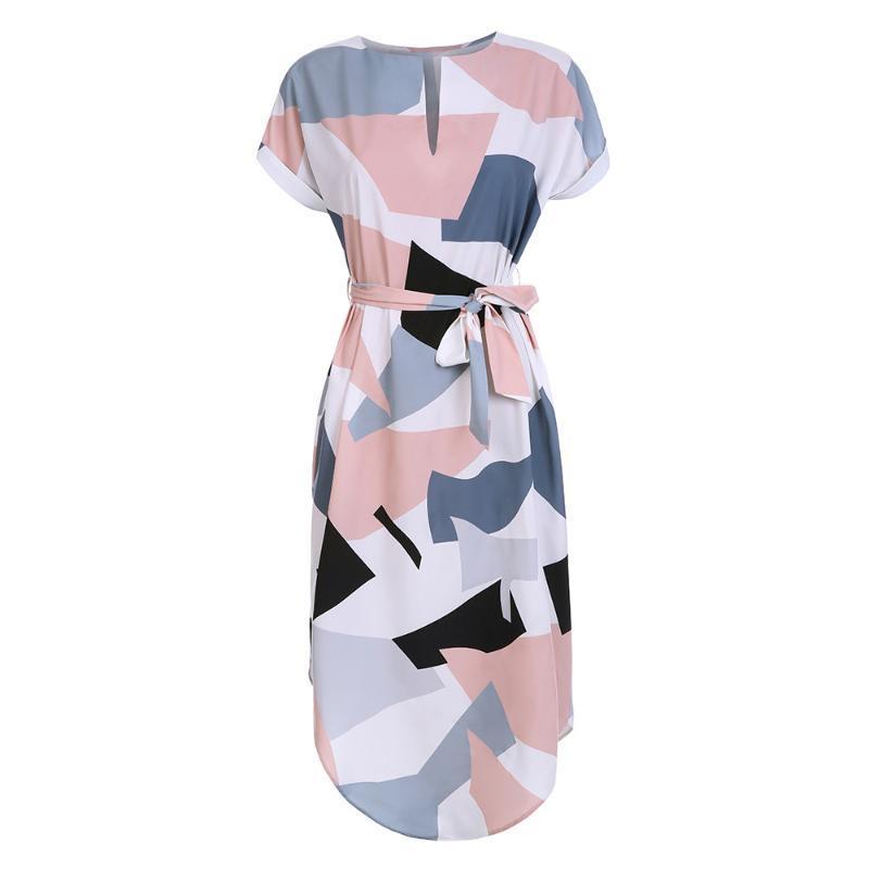 Mulheres Midi Vestido justo Praia Verão Vestido de Verão Geométrica Multi-color Mid-perna gola novidade Geométrico Vestido justo
