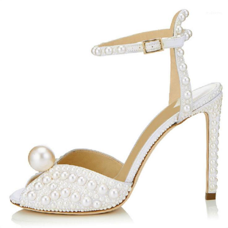 Elbise Ayakkabı 2021 Peri Tarzı Kadınlar El Yapımı Inci Ince Topuklu A-Line Düğün Kadın Ofis Ziyafet Balık Ağız Yüksek Topuklu Sandaletler 41 411