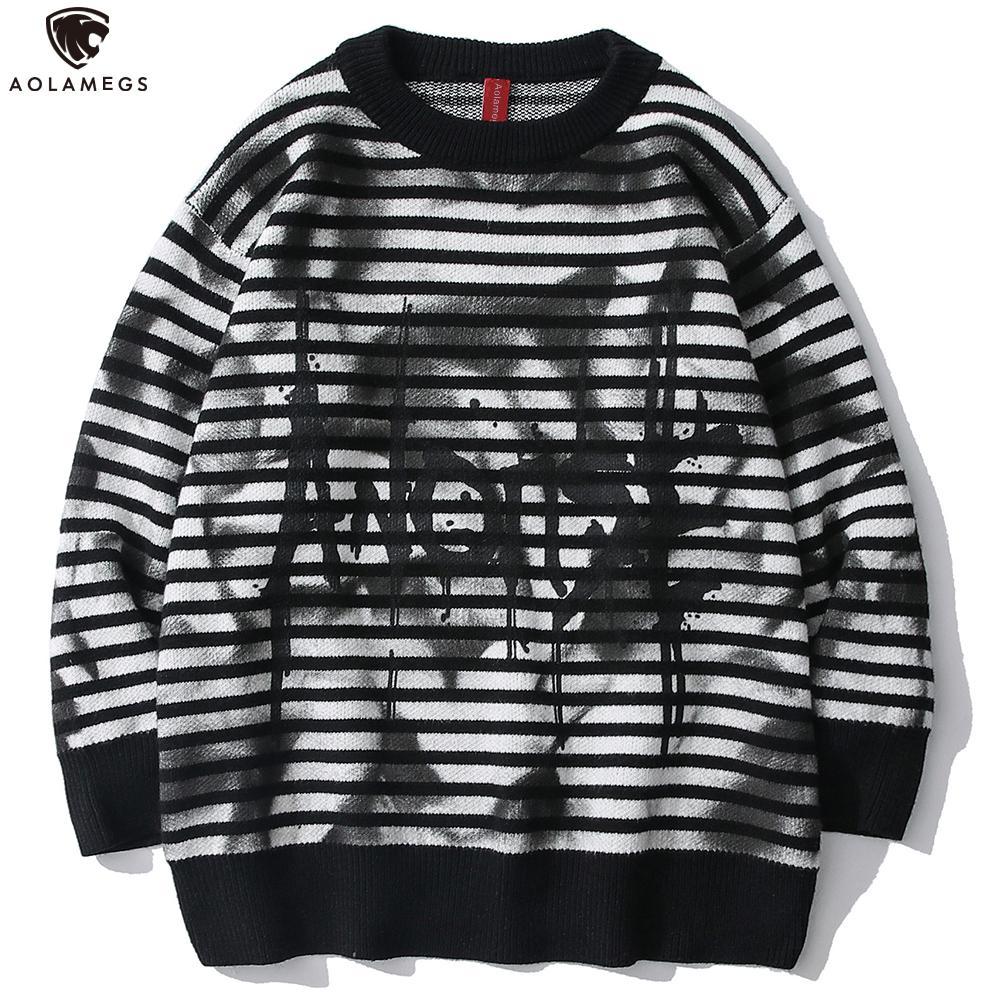 Aolamegs Çizgili Erkekler Noel Triko Kış Retro knittwear Graffiti Moda Erkek üst giyim Hip Hop Örme Kazak
