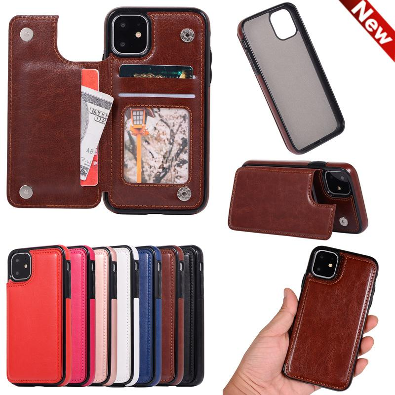 New IPhone 12 Leather Case Fashion IPhone12Pro 11 XR 7/8 Mobile Phone Case Creative Xs Protective Cover Card Wholesale