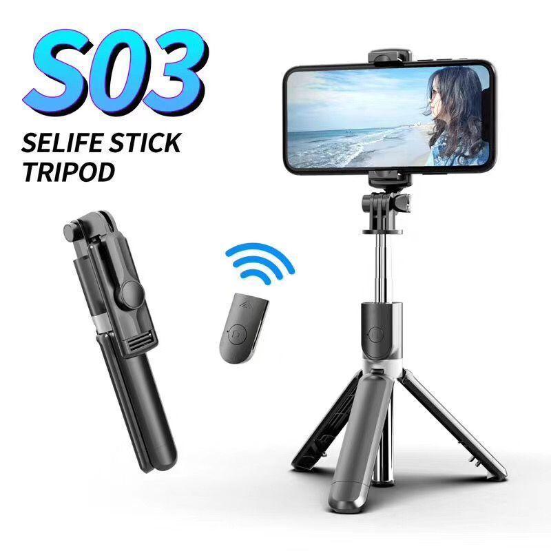 Multi-função S03 sem fio Bluetooth selfie vara dobrável Handheld Monopod obturador remoto Extensível Mini tripé para iOS Android