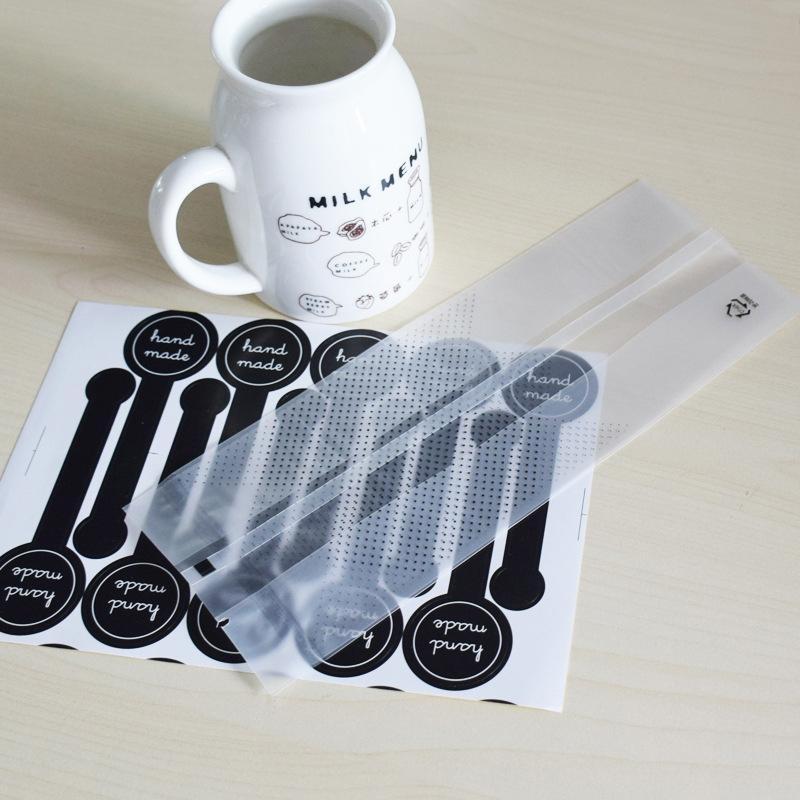 100PCS 귀여운 반투명 평면 가방 + 100PCS 수제 검은 색 스티커 토스트 빵 베이킹 포장 가방 지우기 플라스틱 선물 가방